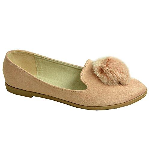 Cucu Fashion Brand New Womens Ladies Pom Pom Ballerinas Girls Flat Dolly Pumps Slip On Casual Fashion Ballet Shoes Size UK 3 4 5 6 7 8 Pink sbNhzK6W8