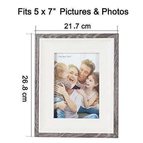 HELA Cornice portafoto in Vetro ad Alta Definizione, Confezione da 3 5x7\'\' Bordo Grigio.