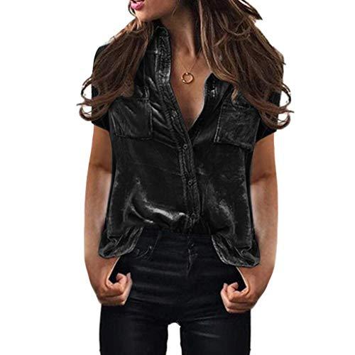 Blouse for Women Tops for Women Womens Solid Velvet Turn-Dowm Collar Short Sleeve Pockets T-Shirt Tops Blouse Green o-Neck Off Shoulder Blue Yellow V-Neck Black White Red