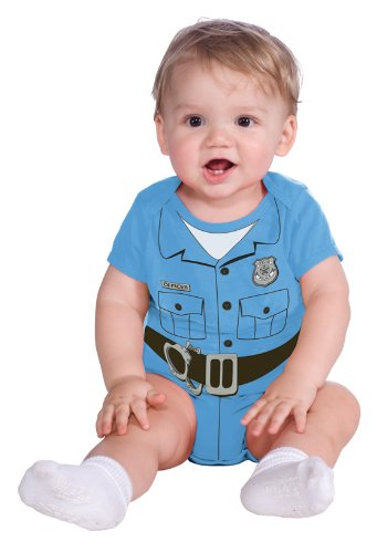 Family Costumes With Newborn (Rubie's Costume My First Halloween Police Officer Onesie Costume, Blue, Newborn (0-6 Months))