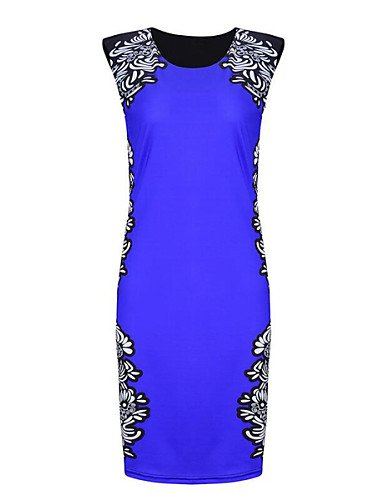 PU&PU Robe Aux femmes Moulante Street Chic,Imprimé Col Arrondi Mi-long Polyester , blue-xl , blue-xl