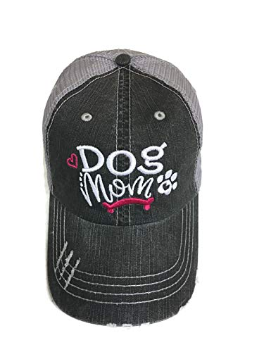 Embroidered Dog Mom Grey Trucker Cap Pet Animal Dog Cat