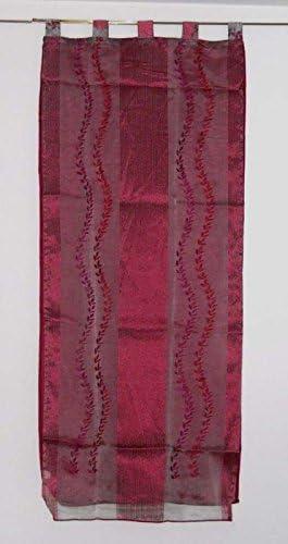 Pérgola cortina doble velo cm 140 x 290 bordada cortina moderna Burdeos salón: Amazon.es: Hogar