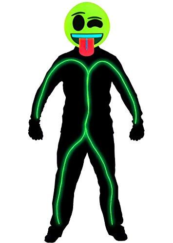Stickman Halloween Costume (GlowCity Light Up Super Bright Wink Emoji Stick Figure Costume For Parties, Lime Green - Medium)