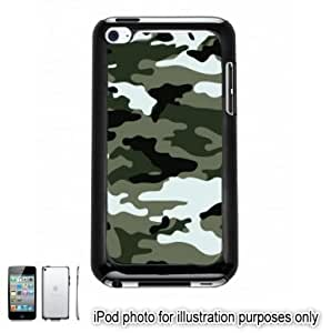 Green Gray Camo Camouflage Print Apple iPod 4 Touch Hard Case Cover Shell Black 4th Generation