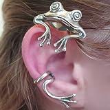 ファッションピアス 20g キャッチピアス 3D 立体 バックキャッチ イヤフック 奇妙なカエルのイヤーラップ 1個 片耳 アクセサリー