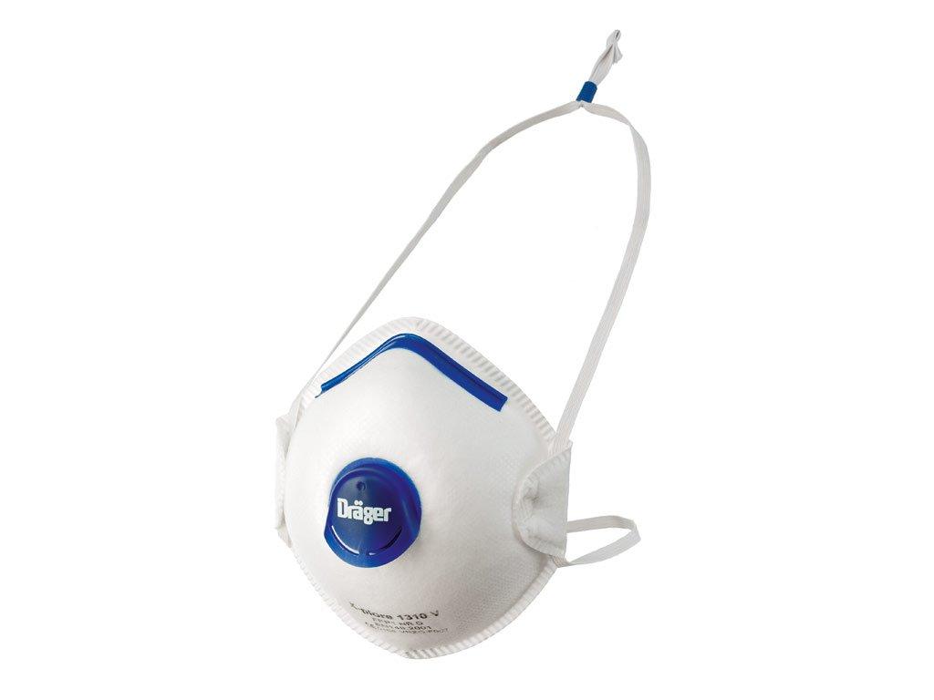 Dräger Lot de 10 masques X-plore 1320 V. Protection respiratoire antiparticules jetable FFP2 NR D. Adapté pour la Construction. Filtration haute performance et confort d\'utilisation Dräger 1320-V
