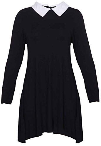 Womens Plus Size Peter Pan Collar Printed Plain Long Sleeve Swing Flare Dress (black,18-20) -
