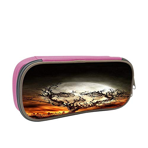 Skull Shape Withered Wood Large Capacity Dirty And Waterproof Multi-Layer Pencil Case Pink ()