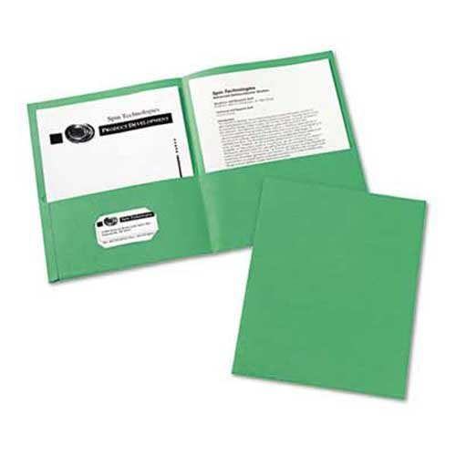 Avery Two-Pocket Portfolio, Embossed Paper, 30-Sheet Capacity, Green, 25/Box ()