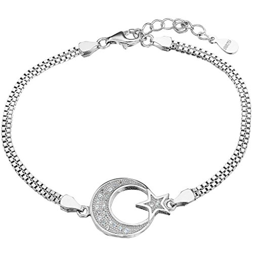 EVER FAITH 925 Sterling Silver Pave CZ Simple Moon and Star Bracelet Double Box Chain Clear
