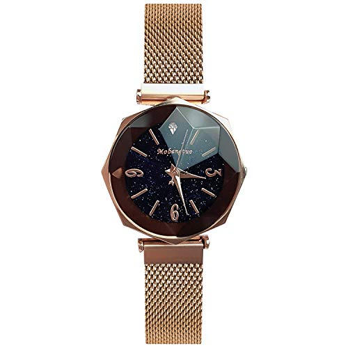 RORIOS Fashion Ladies Watches Magnetic Mesh Band Starry Sky Dial Simulated Diamond Analogue Quartz Wrist Watches