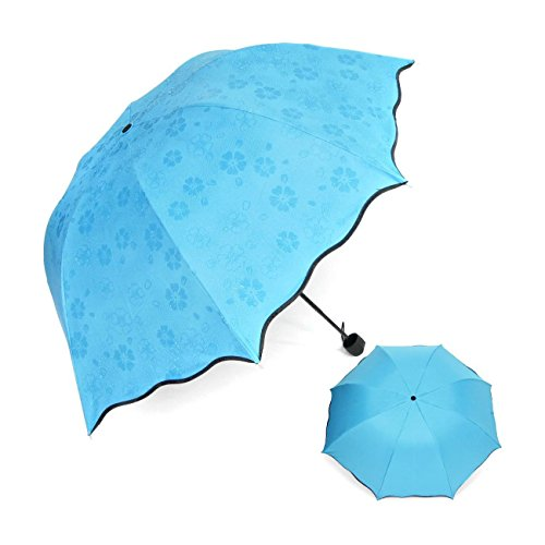 Umbrellas Foldable Rain Windproof 4 Folds Anti-UV Protection Water Magic Travel Blossom Dome Shape Sun Umbrella (Blue)