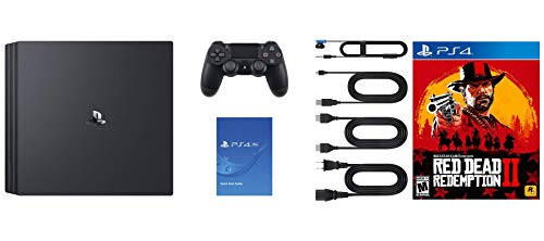 Playstation 4 Pro 2TB SSHD Console with Red Dead Redemption 2 Bundle, 4K HDR, Playstation Pro Enhanced with Solid State Hybrid Drive 2