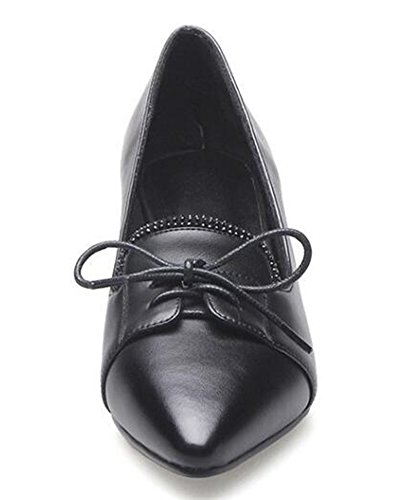 Easemax Womens Classic Mid Chunky Heels Lace Up Pointy Pumps Black