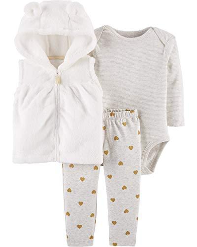 Carter's Baby Girls 3 Piece Vest Set, Ivory, 24 Months