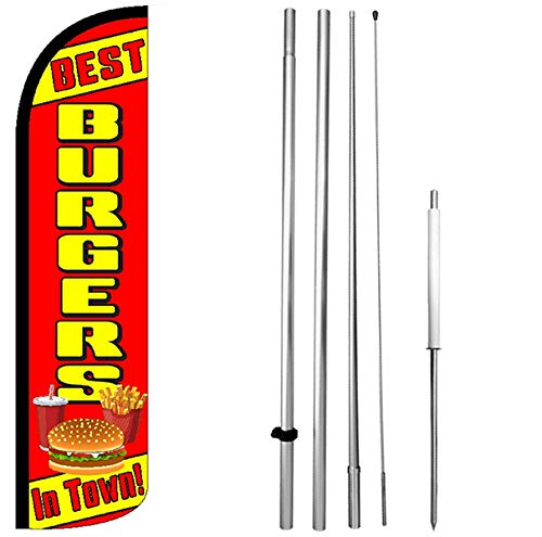 Best Burgers in Town Windless Feather Swooper Flag Kit Banner Sign rz-h (The Best Burger In Town)