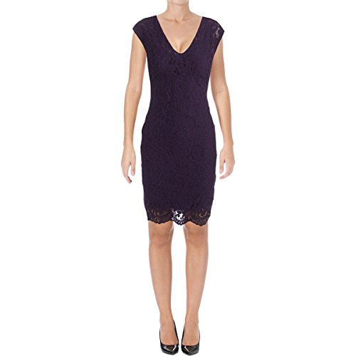 Lauren Ralph Lauren Womens Tahirah Lace V-Neck Casual Dress Purple 4 (Spring Ralph Lace Lauren)