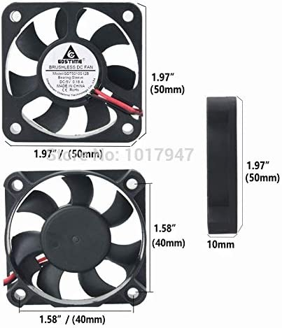 5PCS LOT Gdstime DC 5V 2Pin 50mm 50x50x10mm 5010 Motor Radiator Cooler Cooling Fan