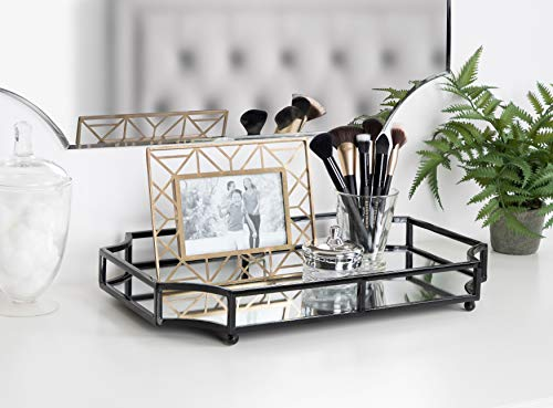 Kate and Laurel Ciel Metal Mirrored Ornate Scalloped Decorative Tray, Black