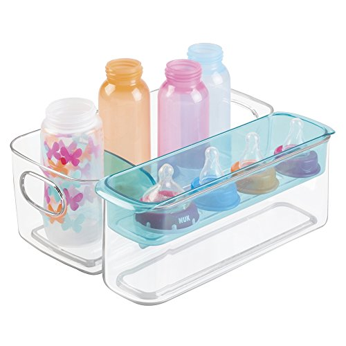 mDesign Baby Mealtime Adjustable Storage Organizer for Bottles, Sippy Cups, Bowls, Spoons - (Mealtime Tray)
