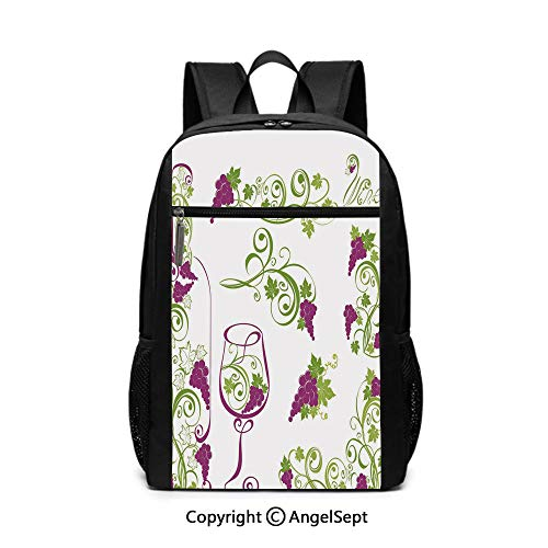 Large Capacity School Backpack,Wine Bottle and Glass Grapevines Lettering with Swirled Branches Lines Decorative,Purple Lime Green White,6.5