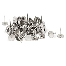 uxcell® Furniture 7/16 Inch Dia Metal Round Flat Head Upholstery Tack Nail Silver Tone 50pcs
