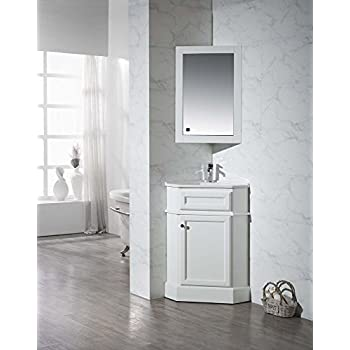 Stufurhome Ty 415pw Modern Hampton Corner Bathroom Vanity With Medicine Cabinet White 27