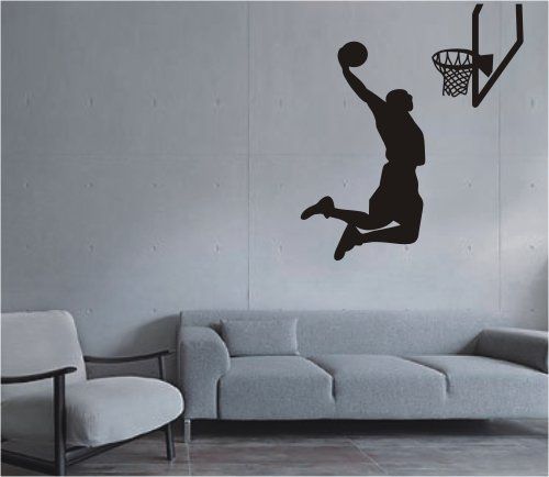 Large–Easy instant decoration wall sticker wall mural Sport Basketball-Basketball shoot (black)