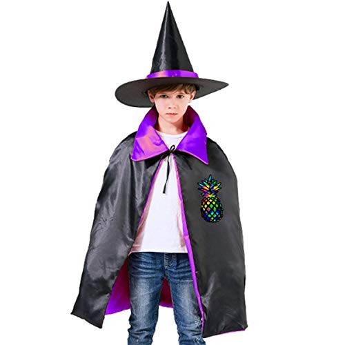 Halloween Children Costume Colorful Pineapple Wizard Witch Cloak Cape Robe And Hat Set]()