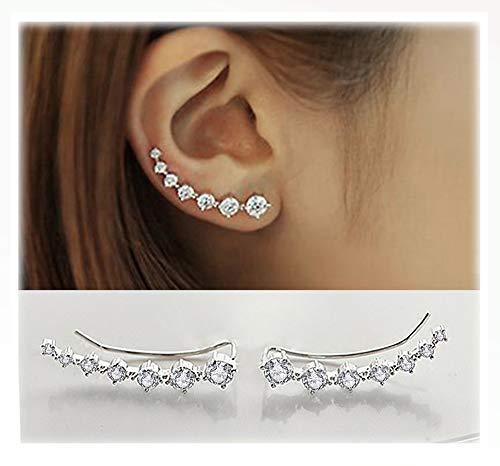 - Elensan 7 Crystals Ear Cuffs Hoop Climber S925 Sterling Silver Earrings Hypoallergenic Earring