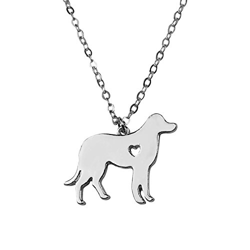 Art Attack Silvertone I Love My Dog Lover Heart Outline Labrador Retriever Pet Puppy Rescue Pendant Necklace