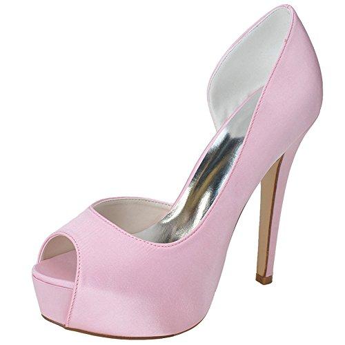 Nascosta Alto Piattaforma Da Rosa Sposa Scarpe Elegante Pompe Donne Delle In Da Sposa Raso Tacco Peep Toe Loslandifen 4SOqCz