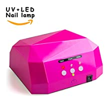 Morpilot MatrixSight 36W UV Nail Dryer Manicure Machine Diamond Shaped CCFL & LED UV Nail Art Lamp Dryer Gel Polish Nail Art Curing Nails With Timer Both for Home Use and Professional Beauty Nail Salon (Rose)