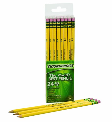 Ticonderoga No. 2 Soft Pencils, Twelve 24 Count Hang-Tab Boxes, Total 288 Pencils - (Wood-Cased, Black Writing) in Yellow (13924) by Dixon (Image #2)