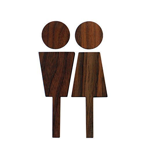 Hacoa H190 Modest Sign to Locate Restroom with Simplified Icon, Wooden Symbol for a Rest Room (Walnut) ()
