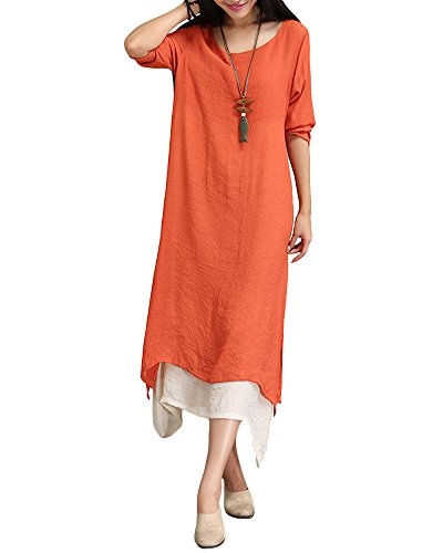 Romacci Women Casual Plus Size Dress Vintage Long Boho Maxi Dress (XL, Orange)