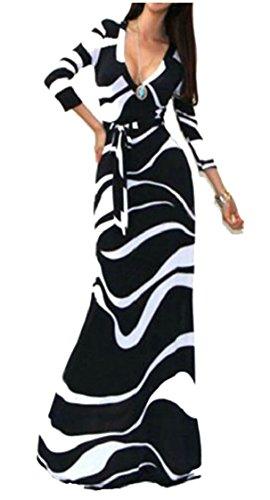 Jaycargogo Des Femmes De Manches 3/4 Maxi Été Imprimé V-cou Robe Noire Moulante