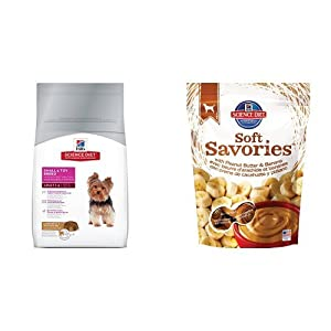 Hill's Science Diet Adult Small & Toy Breed Lamb Meal & Rice Recipe Dry Dog Food (4.5 pound bag) and Soft Savories with Peanut Butter & Banana Dog Treats (8 ounce bag)