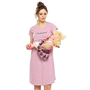 ZEYO Women's Cotton Printed Short Maternity Nighty
