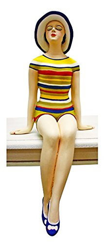 Kensington Row Coastal Collection Sculptures - Bathing Beauty Figurine In Striped Bathing Suit With Sun Hat - Shelf Sitter - Nautical Decor