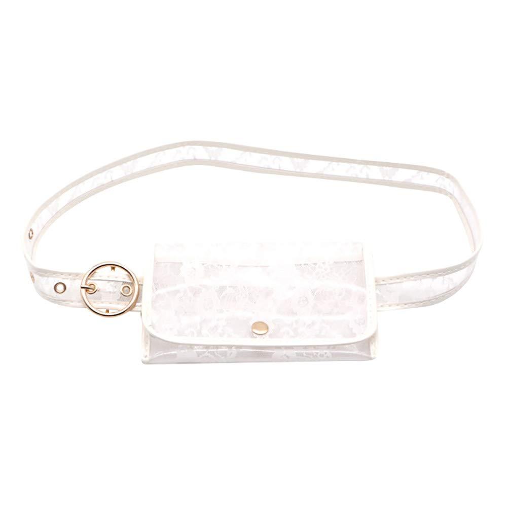 FEDULK Womens Lace Waist Belt Pockets Multi-Purpose Lightweight Coin Purse Shopping Bag Pockets(White, One Size)