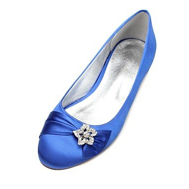 Heelivory 5 CN37 Wedding Bowknot Satin Flat Spring 7 Ruby Dress Summer Party EU37 Rhinestone Champagne amp;Amp; Blue 5 Comfort Wedding US6 5 Shoes UK4 Women'S Evening AY4wxq6gc