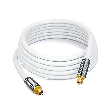S//PDIF LWL Lichtwellenleiter Kabel Metallstecker 5mm Flexibel Wei/ß deleyCON 0,5m Optisches Digital Audio Kabel 2X Toslink Stecker