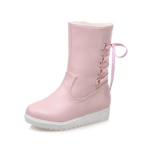 Ladola Girls Bandage Platform Non-Slipping Sole Pink Imitated Leather Boots - 7 B(M) - Promo And Code Q B