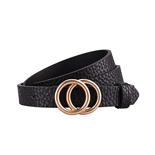 - Gackoko Women Leather Belt for Dress & Jeans Fashion Soft Leather with Double O-Ring Buckle (S, Black-x)