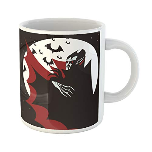 (Semtomn Funny Coffee Mug Vector Evil Vampire in the Night Bat Black Bloodsucker Cape 11 Oz Ceramic Coffee Mugs Tea Cup Best Gift Or)