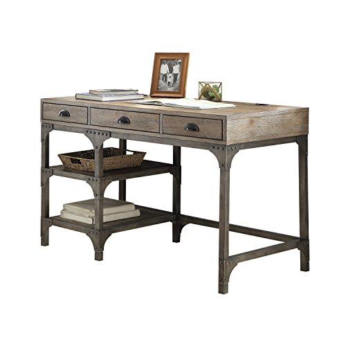 ACME Furniture Acme 92325 Gorden Desk, Weathered Oak & Antique Silver by Acme Furniture