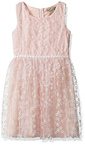 Speechless Girls' Big Textured Knit Flocked Tulle Dress, Lite Pink, 12