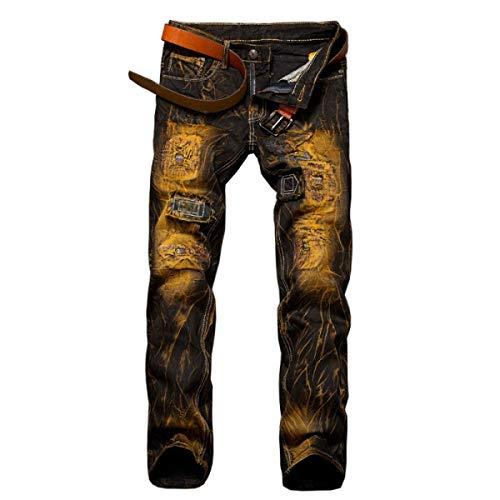 Strappati Jeans Media A Dritto Alla Da Taglio Giallo Uomo Battercake Vita Fit Moda Comodo Senza Slim BadxvFv